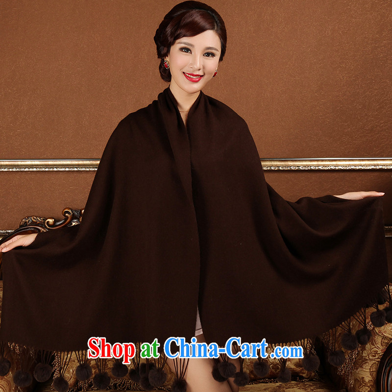 Butterfly Dance linger 2014 autumn and winter new pixel color, rabbit hair ball, warm woolen shawl long scarf brown