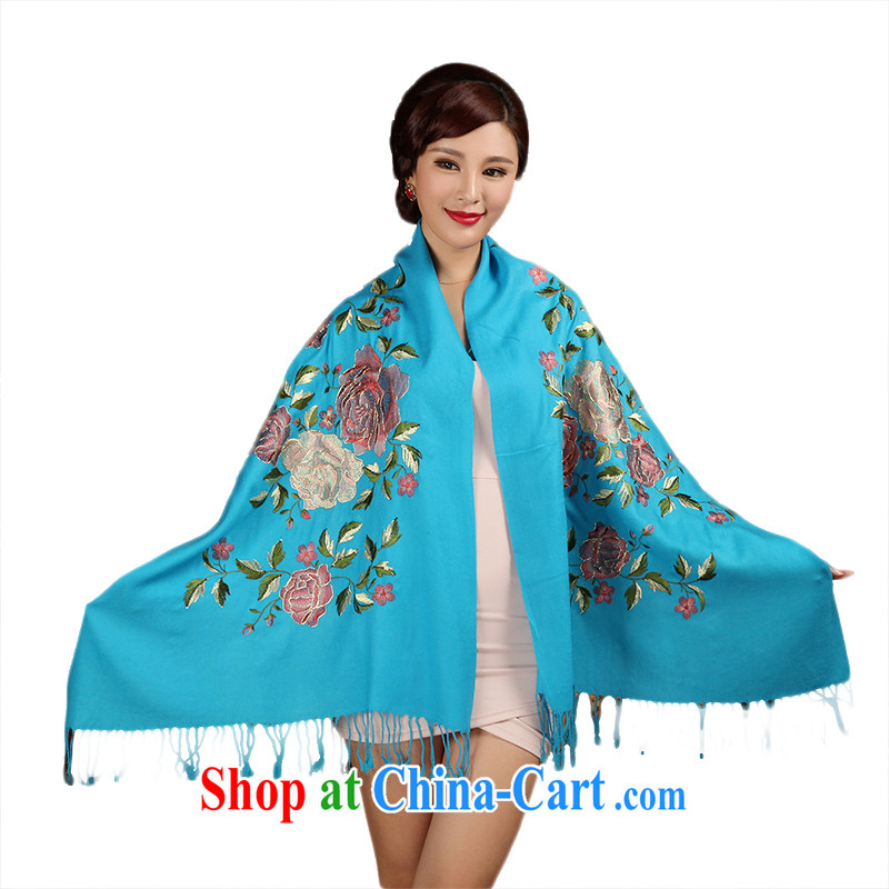 Butterfly Dance linger 2014 autumn and winter new ladies scarves embroidery zig-zag wool warm shawl, Peony blue