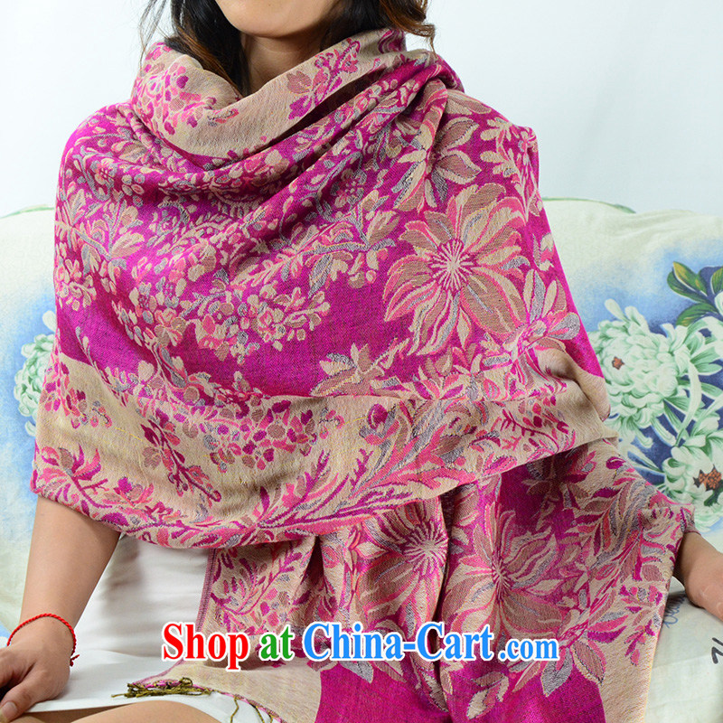 Heart wave take new cotton Bohemia, the long thick winter large shawls ethnic wind long Korean scarf P 18 light purple