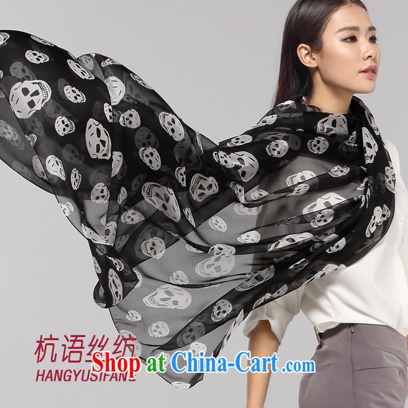 HANGZHOU, silk woven in white on black skull upscale silk scarf Spring Summer and Winter 100_ sauna silk silk scarf sunscreen warm 100 a long silk scarf shawl 200 CM _ 65 CM