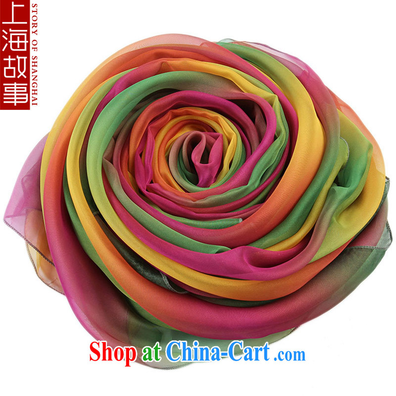 Shanghai Story sunscreen scarves girls spring and summer long, air-conditioned 100 ground silk scarf woven snow stamp duty muslin square glass pretty colorful