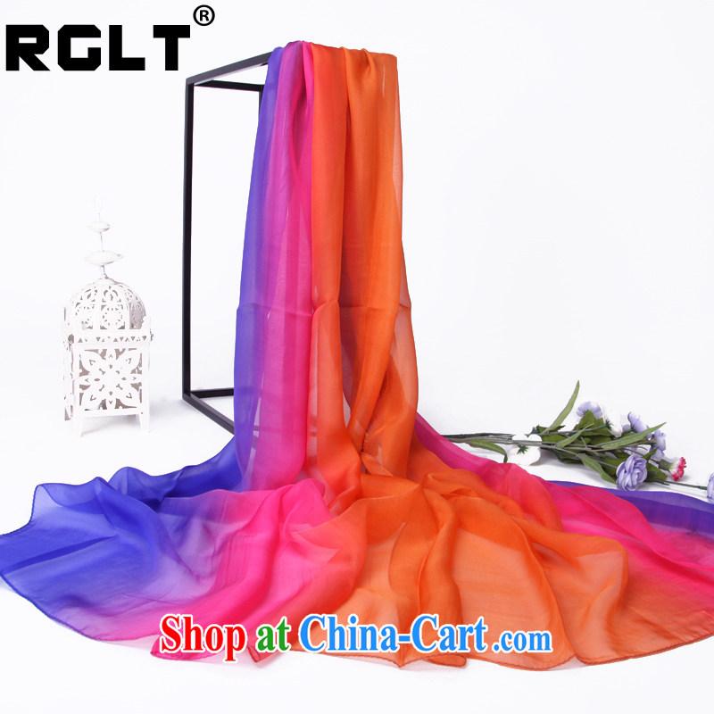 RGLT Rui, 2015 new 100_ sauna silk silk snow woven hand-painted gradient summer shawl silk scarf long Scarf by IRIS - blue orange gradient