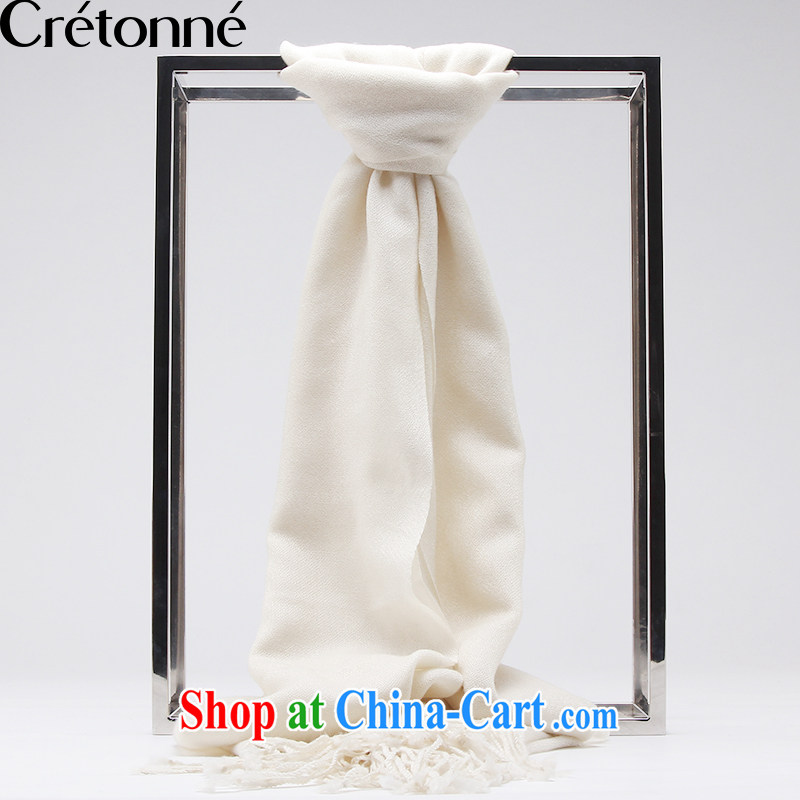 CRETONNE pure wool scarf-skin care natural shawl, plain colored long scarf white