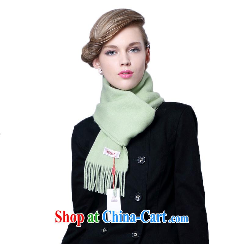 HANG SENG Yuen Cheung- 100_ pure wool monochrome scarves _gift boxed_ light green