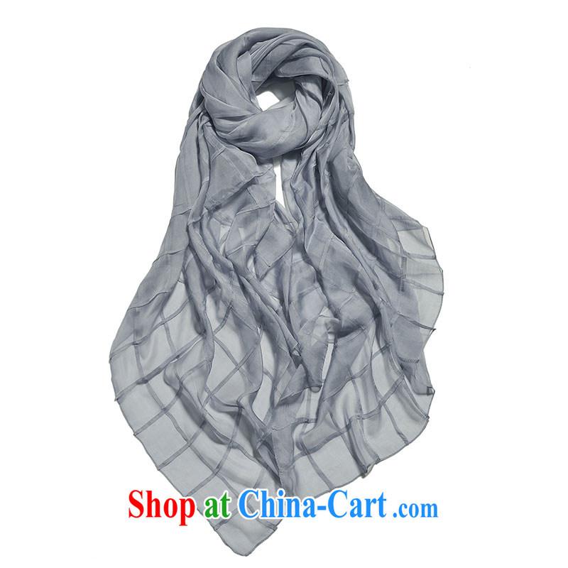Kai, Mr. cool spring 2015 new manual hold the silk silk scarf summer Solid Color spring silk silk scarf silk scarf light gray size 108 CM _ 210 CM