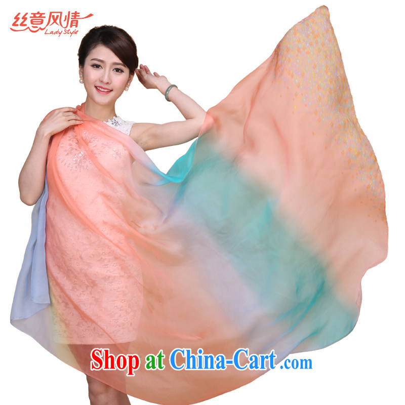 population to feel pure sauna silk silk silk scarf long, spring and autumn, Ms. ground 100 ultra long with two shawls scarves look Yuen heart-han, the red and blue floral gradient #02