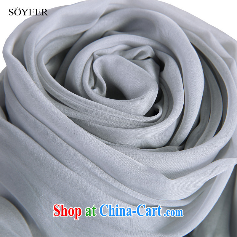Spring and Autumn SOYEER silk scarf upscale silk scarf style light gray sauna silk silk scarf long Solid Color silk scarf Light Gray Standard 200 _ 65 CM