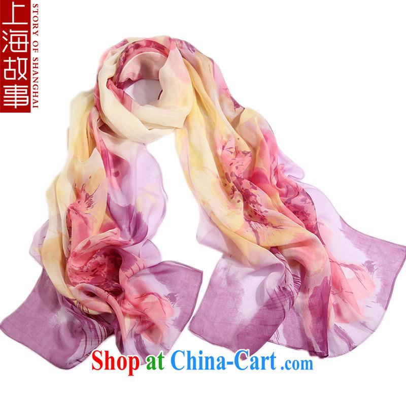 Shanghai Story upscale silk silk scarf, Ms. summer sunscreen shawl long silk scarf muslin square ripple purple
