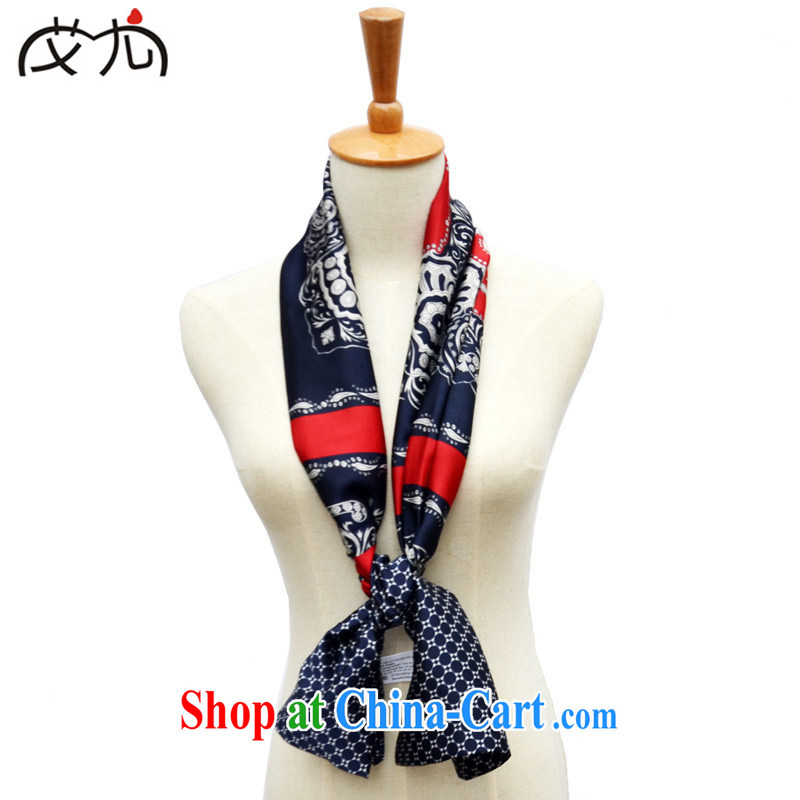 AIDS is particularly stylish european spring and autumn, new, long, Retro 100 ground scarves decorated small silk scarf scarf Korean silk scarf 5 Tibetan blue cashew nuts