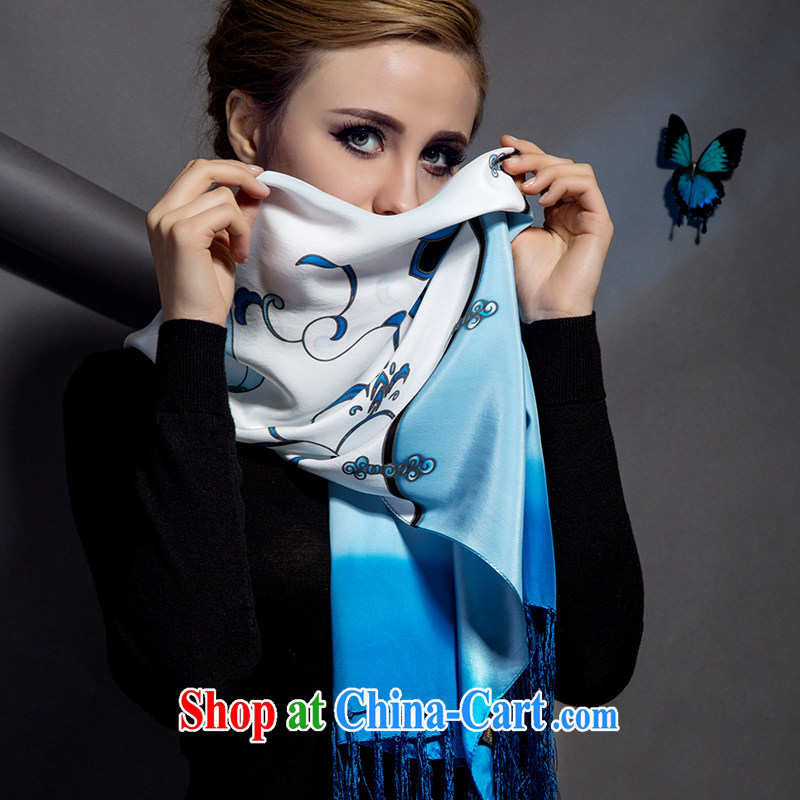 Butterfly Dance Oriental silk scarf upscale female long, silk scarf, silk silk scarf summer sunscreen muslin square shawl blue and white porcelain