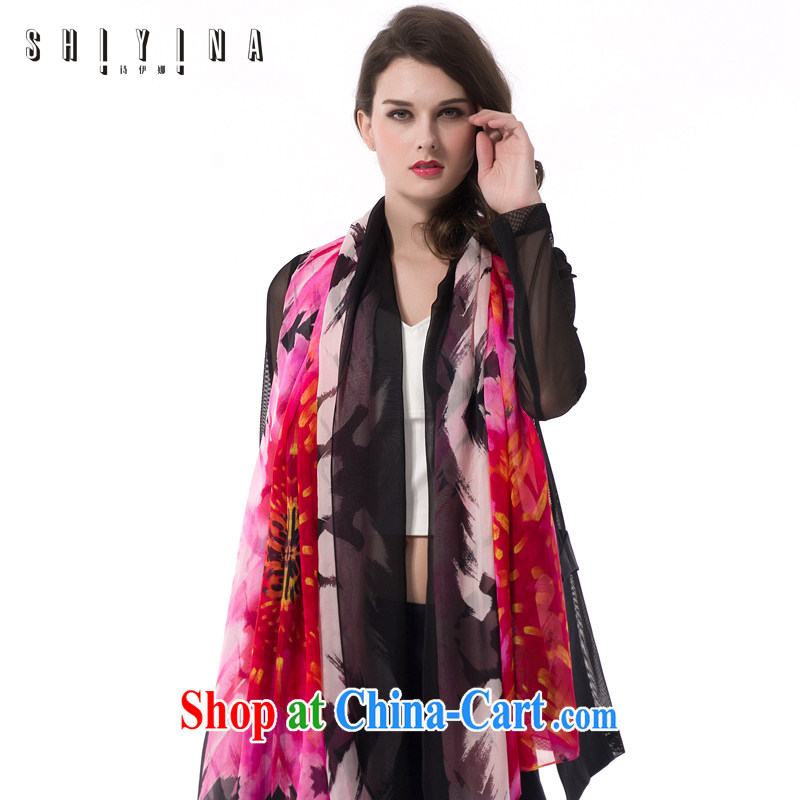 The poetry of shiyina) New 2015 silk scarf dos santos Ms. silk sunscreen scarves silk gift long stamp shawl female and black and red