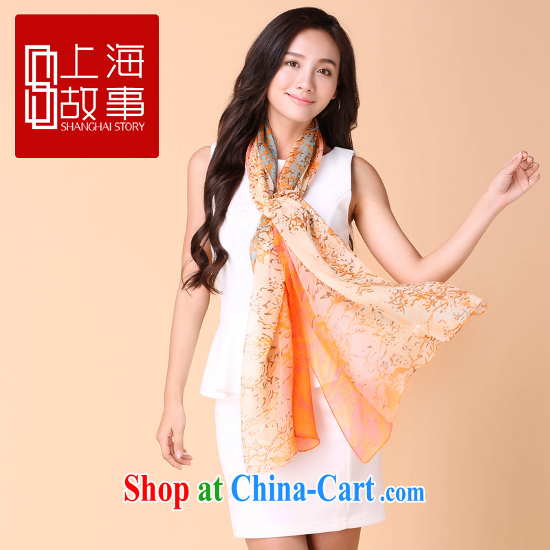 2015 Shanghai Story silk scarf girls long spring high silk scarf summer sunscreen sauna silk scarves and the images - Orange 185 _ 90