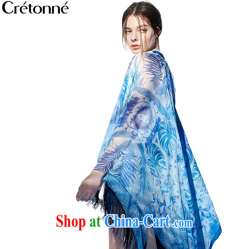 2015 Cretonne flow Su silk scarf coconut tree stamp shawl spring and summer the Sun resort beach towels 100 ground swimming costume 002 blue coconut.