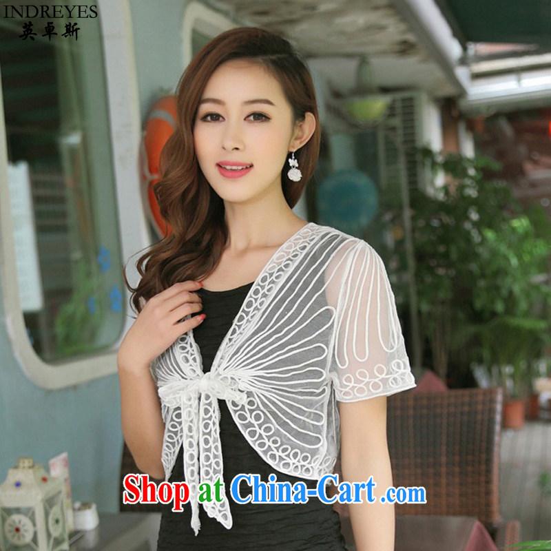 The Jos, summer 2015 ladies new Korean small shawl thin Web yarn lace short-sleeved cardigan larger stylish jacket 100 ground, small shoulder plain white M