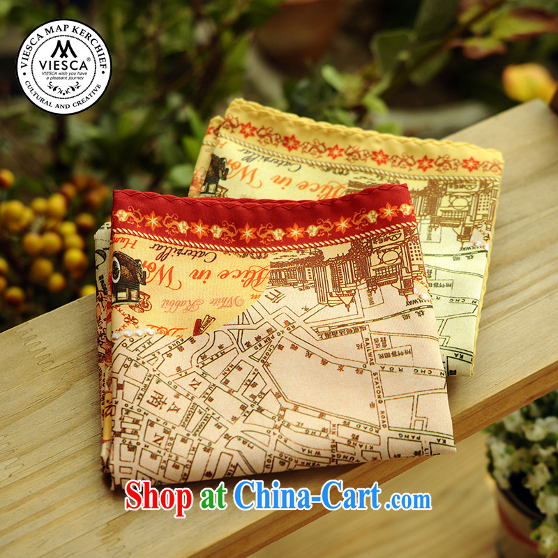 VIESCA D easy-to-wire the old Shanghai Map silk scarf souvenirs culture party towels getting cuter Satin cotton
